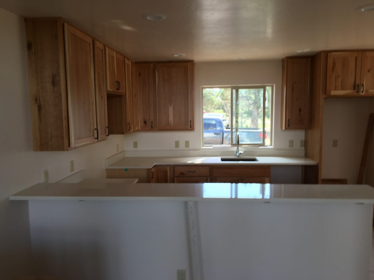 Cabinets and counters are installed
