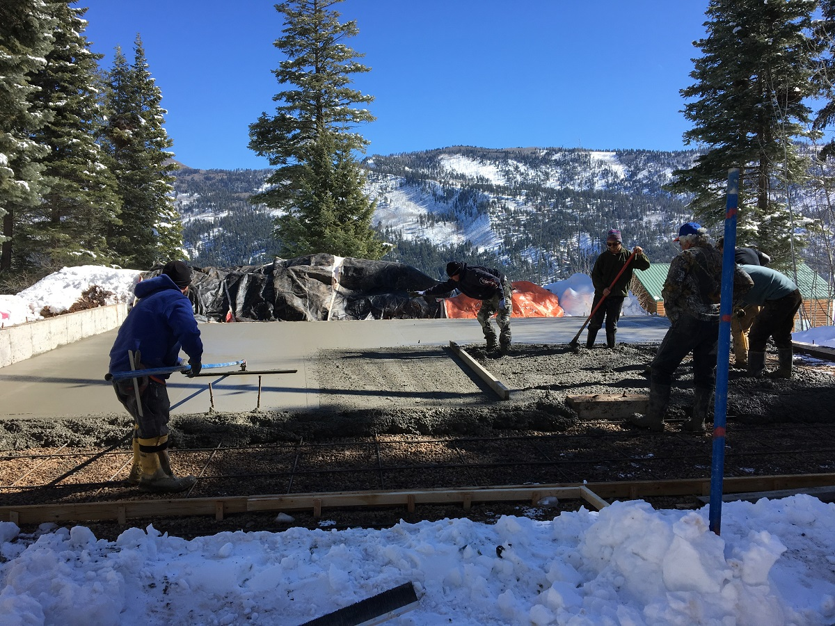 Moedl Remodel - The concrete slab for the garage is being placed in March of 2017 for this new oversized garage near Vallecito lake in Bayfield