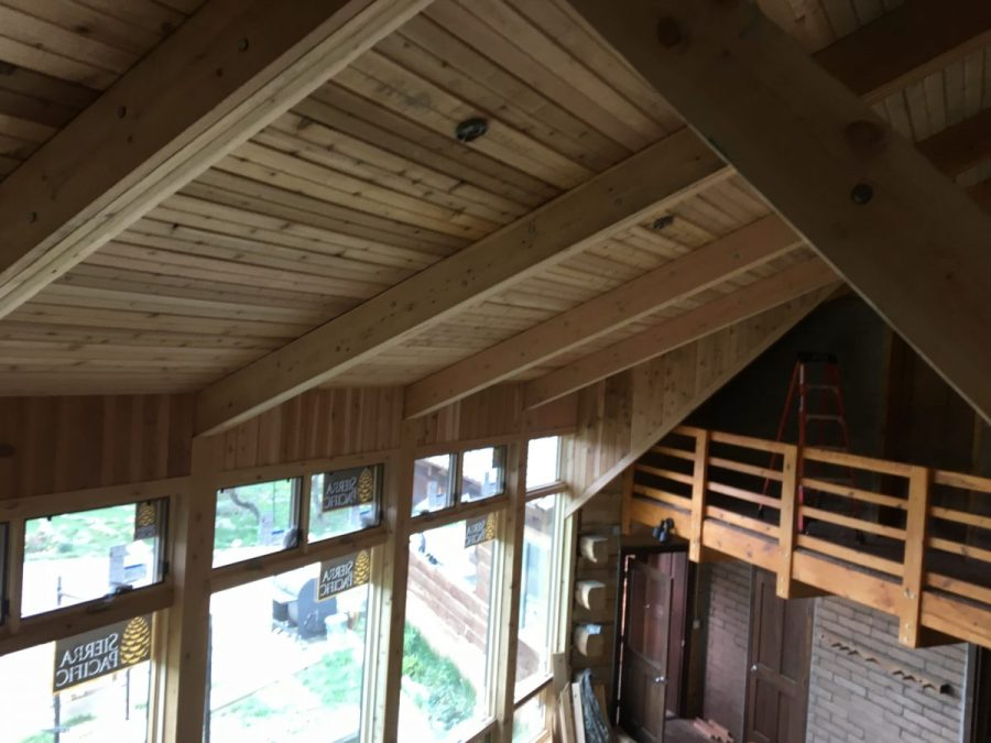 Inside trim work is taking shape.